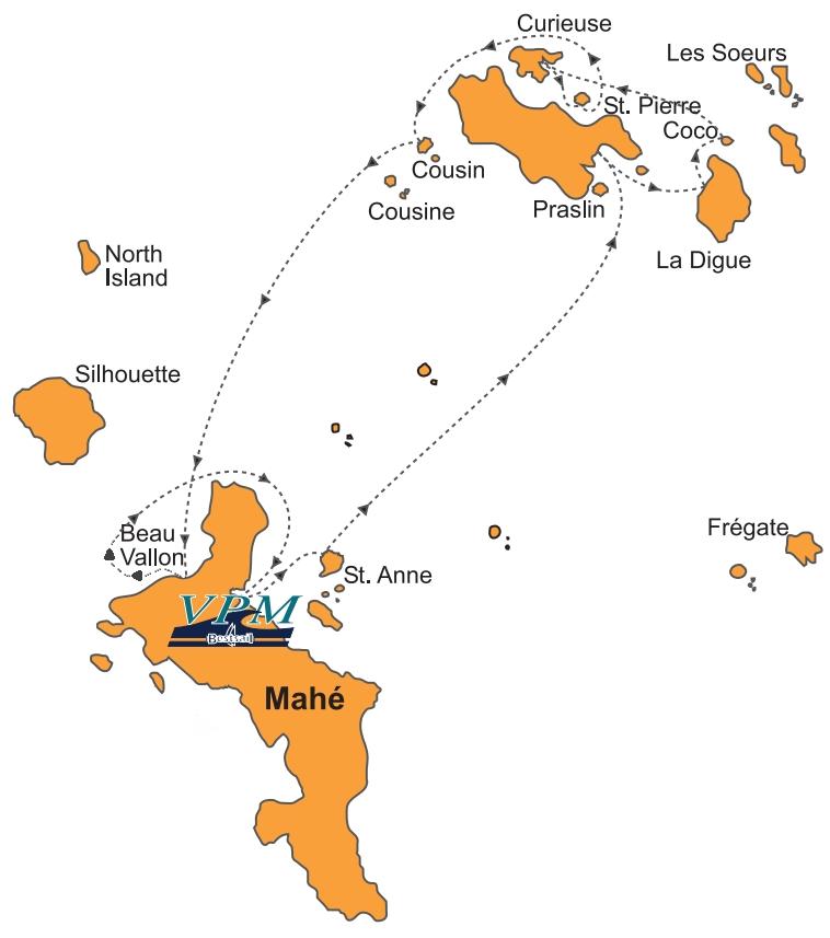 Karte Seychellen.Barone Yachting Segelyacht Kreuzfahrten Segelyacht