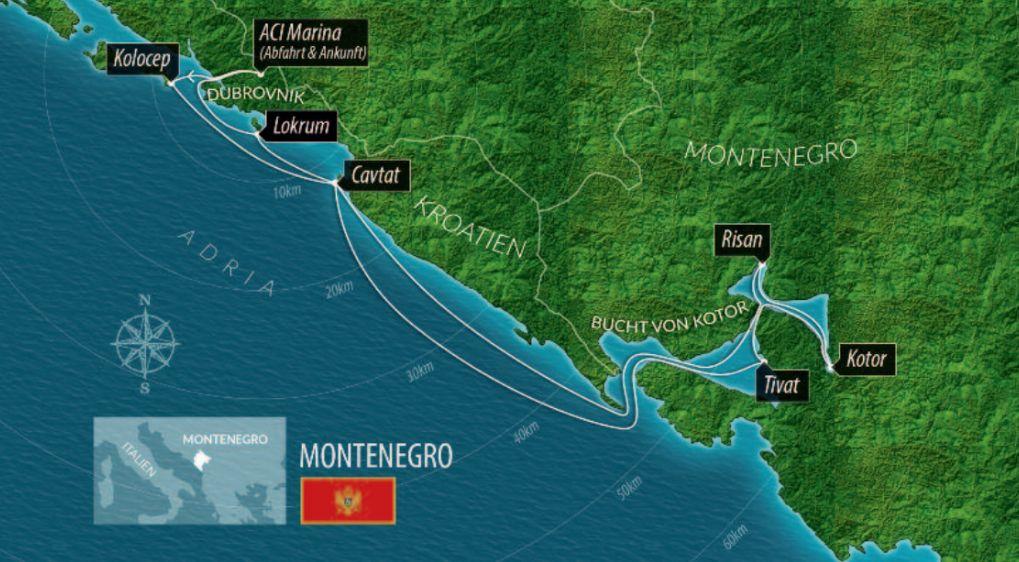 Karte Montenegro Kroatien.Barone Yachting Segelyacht Kreuzfahrten