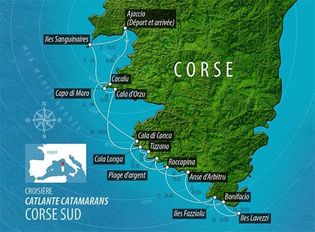 Carte Corse Ajaccio.Barone Yachting France Itineraire Corse Ajaccio Iles Lavezzi